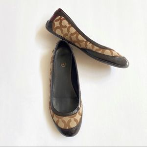 Coach True brown canvas signature ballet flats